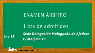 Lista de admitidos al examen de árbitros Nivel 1 y Autonómico (Mayo).