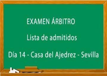 Lista de admitidos al examen de árbitros Nivel 1 y Autonómico.