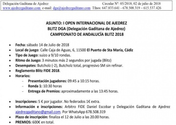 I Open Internacional de Ajedrez Blitz DGA. Campeonato de Andalucía Blitz 2018.