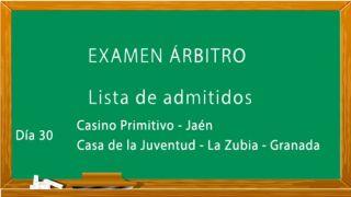 Lista de admitidos al examen de árbitros Nivel 1 y Autonómico (Diciembre).